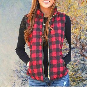 Buffalo Plaid Flannel & Sherpa Fall Vest Size S